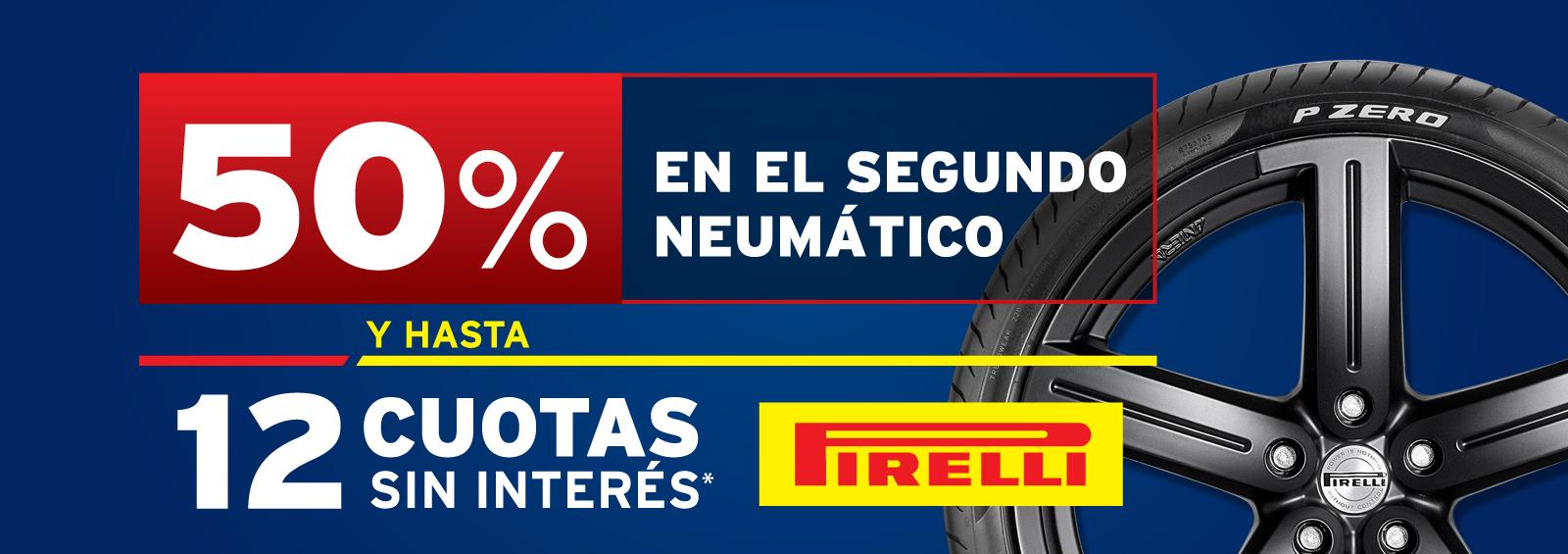 50% en el segundo neumático